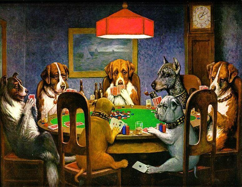 『ポーカーをする犬』